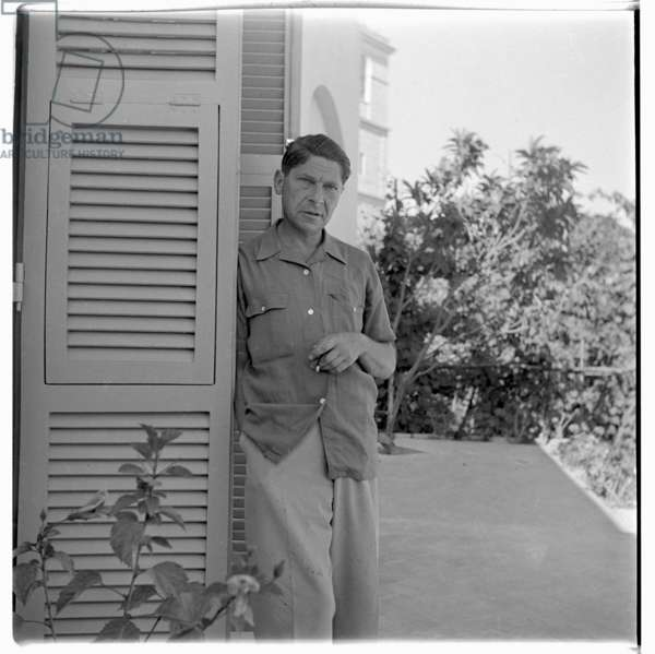 Portrait of journalist and thinker Arthur Koestler on holiday, Ischia, Italy 1952