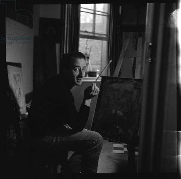 Raffaello Painter, London, mid 1950's (b/w photo)