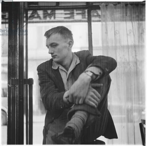 Ralph Rumney, portrait of artist and husband of Pegeen Guggenheim, daughter of Peggy Guggenheim, Soho, London, UK, mid 1950's (b/w photo)
