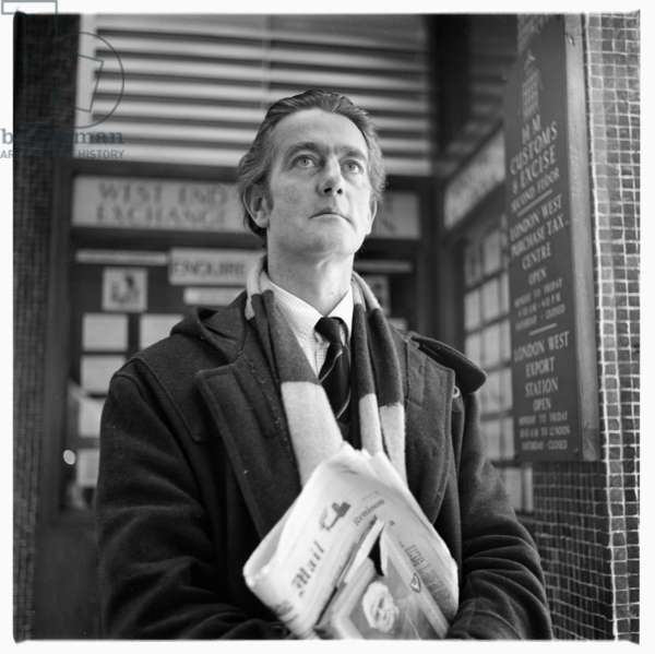 Portrait of man of unknown details, standing on Berwick Street Soho London, possibly 1962