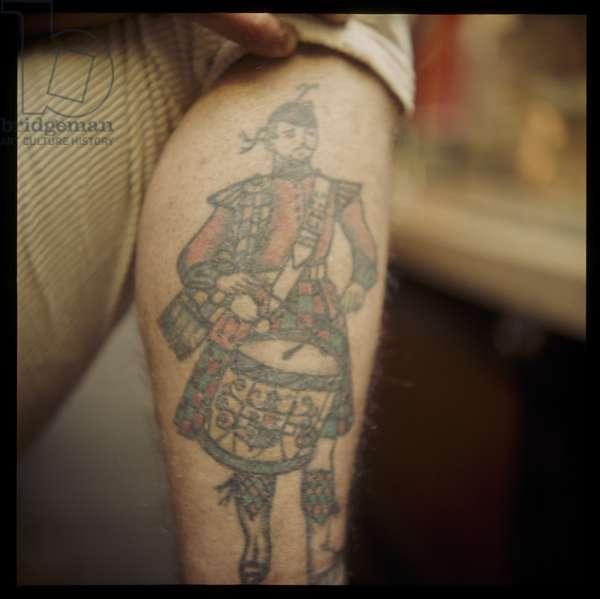 Tattooed leg, Les Skuse, c.1965 (colour photo)