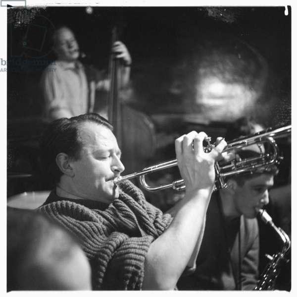 Portrait of the jazz trumpeter and broadcaster Humphrey Lyttelton, Soho, London 1960's