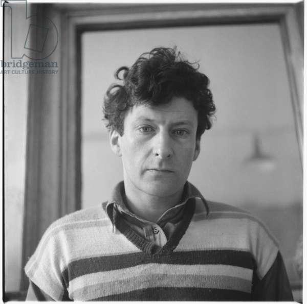 Lucian Freud, in his studio, Paddington, London, 1952-1953 (b/w photo)