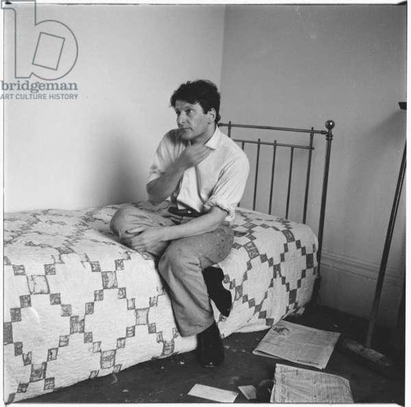 Lucian Freud on Bed, c.1964 (b/w photo)