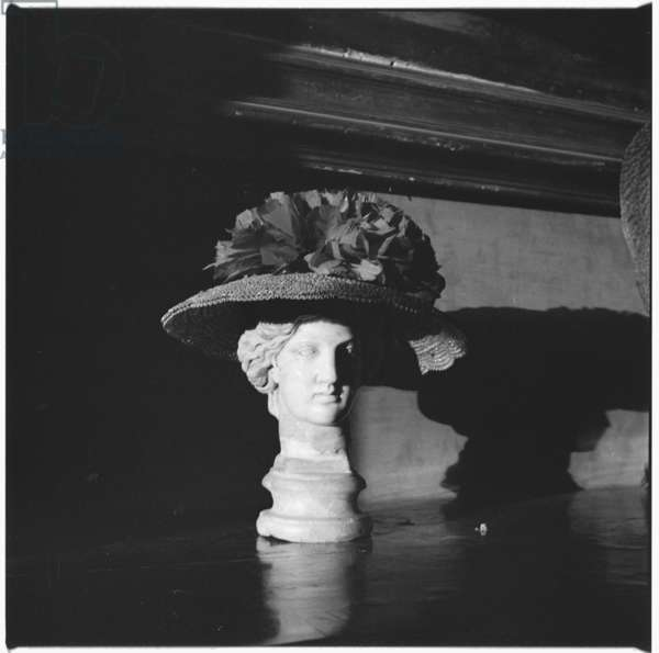 Marble bust, portrait of in Castello di Rocca Sinibalda, Italy, owned by Caresse Crosby, mid 1950's (b/w photo)