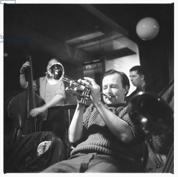 Humphrey Lyttelton playing the trumpet, c.1955 (b/w photo)