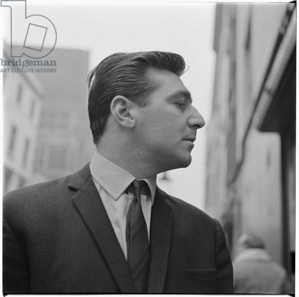 George Dyer, portrait of petty criminal and gangster, model and boyfriend of Francis Bacon, Soho, London, UK, mid 1960's (b/w photo)