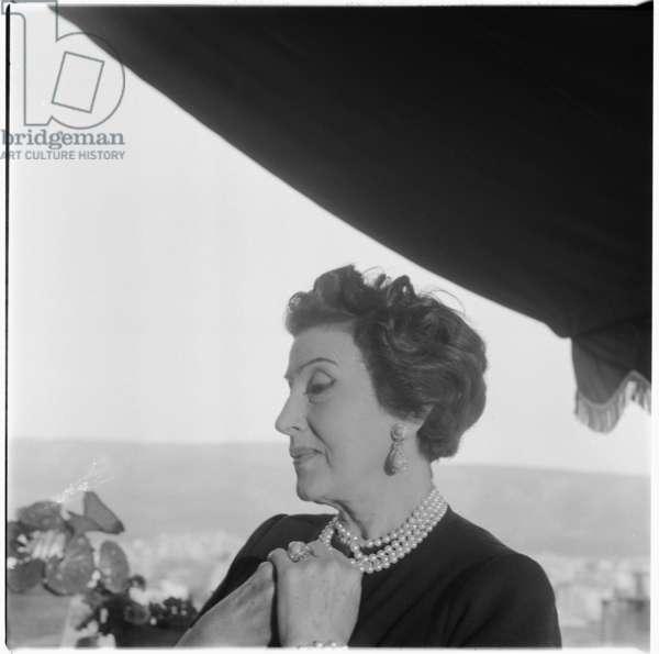 Katina Paxinou, portrait of Greek actress and wife of Alexis Minotis, Greece, mid 1950's (b/w photo)