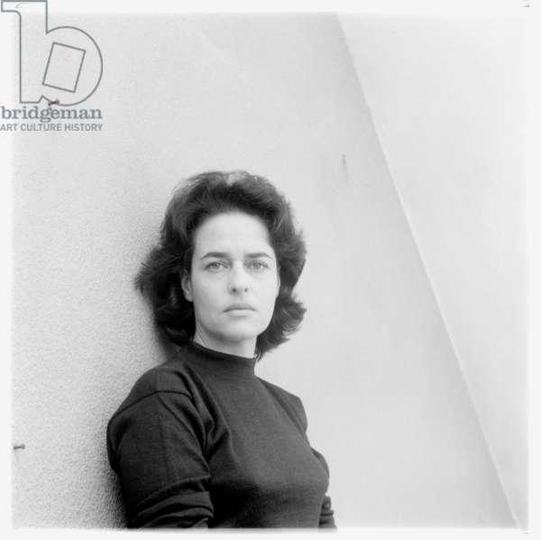 Portrait of Eugenio Carmi's wife in his studio, possibly Rome Italy, mid 1960's (b/w photo)
