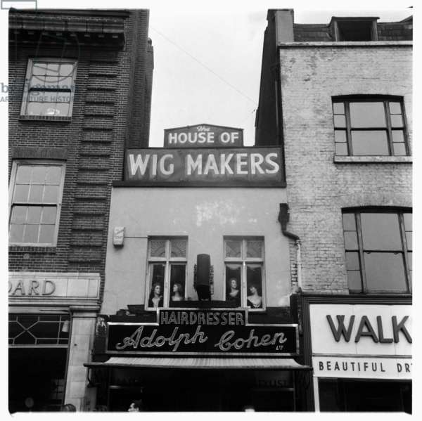 London, House of Wigmakers, image of a Jewish business Adolf Cohen wigmakers and hairdressers where Vidal Sassoon did his apprenticeship, Whitecapel, London