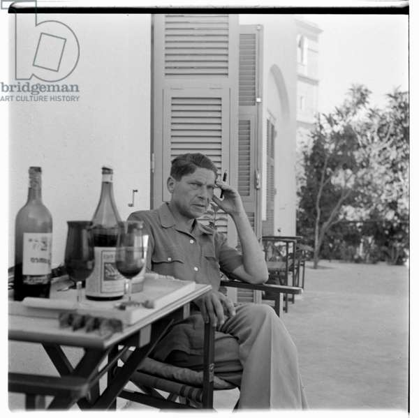 Portrait of journalist and thinker Arthur Koestler on holiday, Ischia, Italy 1952