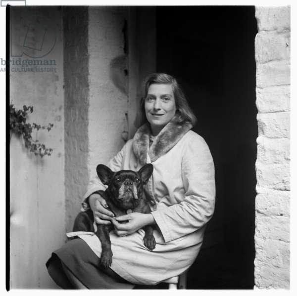 Rose McLaren, portrait of aristocrat, Soho habitue, friend of Francis Bacon and florist to Princess Margaret, mid 1950's (b/w photo)