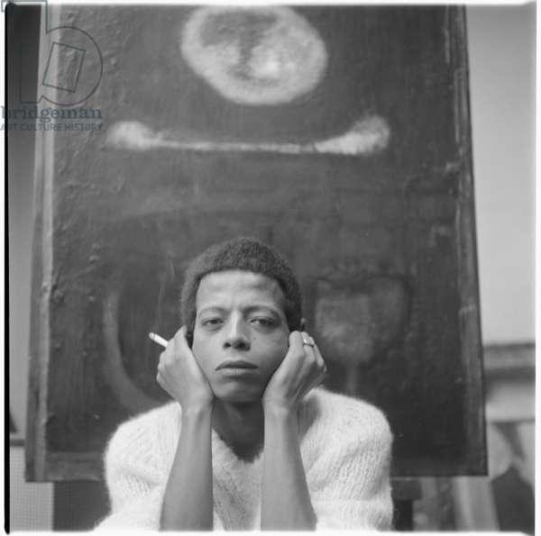 Hussein Shariffe, portrait of Sudan born artist and filmmaker, also photographed by Ida Kar, Soho, London, UK, 1965 (b/w photo)