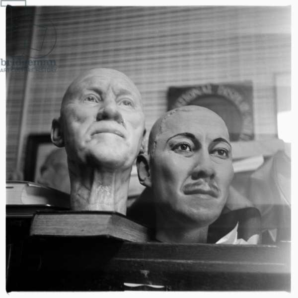 Waxworks in a storeroom, possibly taken for Francis Bacon, mid 1950's