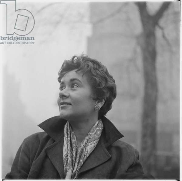 Joan Plowright outside the Royal Court Theatre, c.1956 (b/w photo)