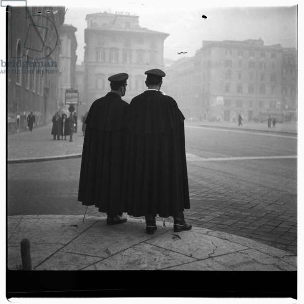Image of two uniformed men, possibly Roman police, Rome, early early 1950's