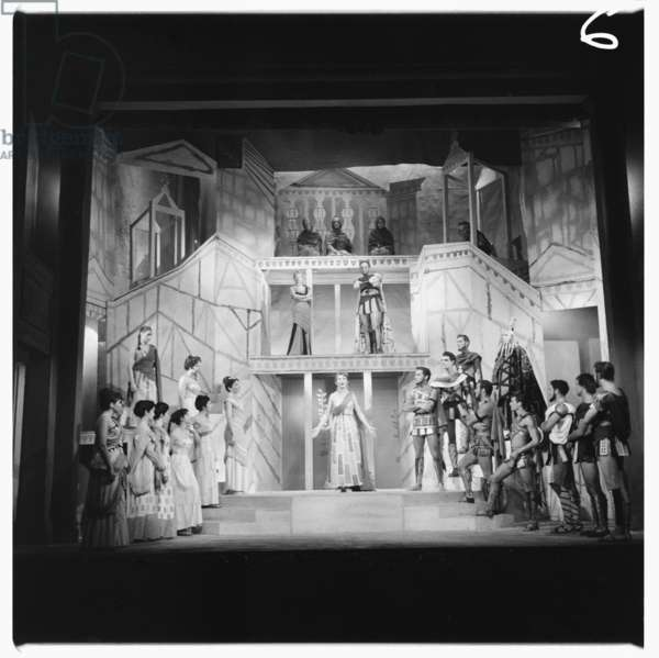 Lysistrata at National Theatre, images from a production of classic Greek play Lysistrata directed by Milos Volonakis starring Joan Greenwood, London 1983