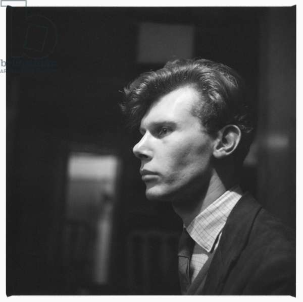 Portrait of an unknown man in a Soho pub, London mid early 1950's (b/w photo)