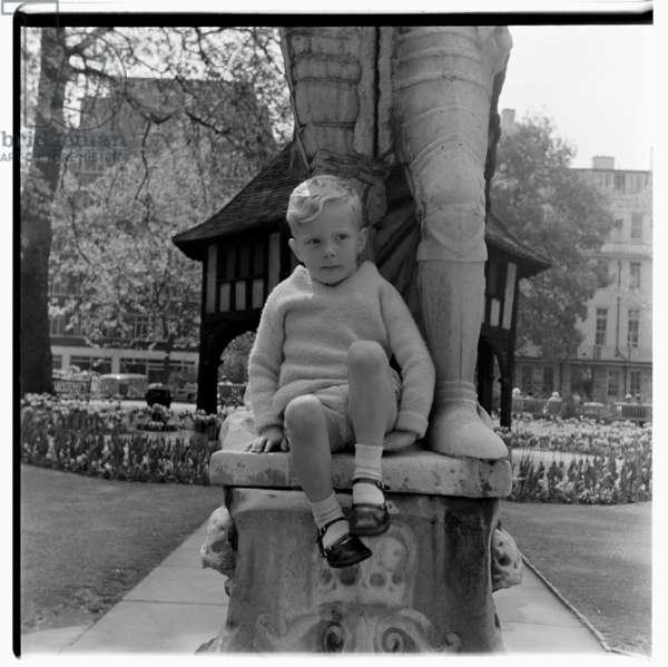 Unknown boy in Soho Square, c.1955 (b/w photo)