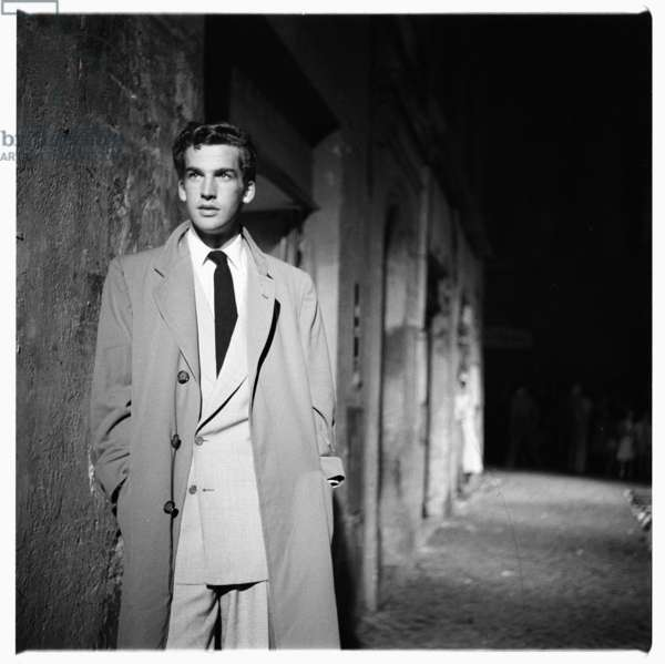 Portrait of unknown man, possibly model for cigarette advert, Rome, early early 1950's