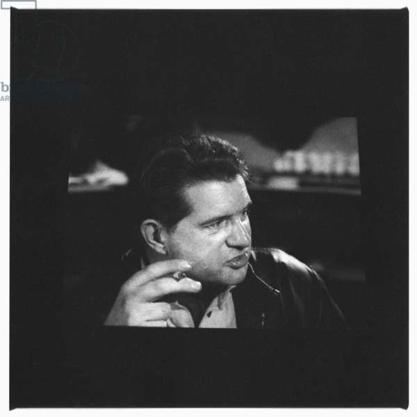 Photograph of television screen showing interview of painter Francis Bacon by Dan Farson for a TV programme The Art Game, 1958