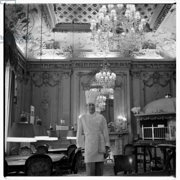 Chef in restaurant, c.1955 (b/w photo)