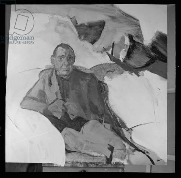 Portrait of Deakin, portrait of Photograph taken by John Deakin in Michael Andrews studio of his own portrait at the time of its painting, Soho, London, UK, 1963 (b/w photo)