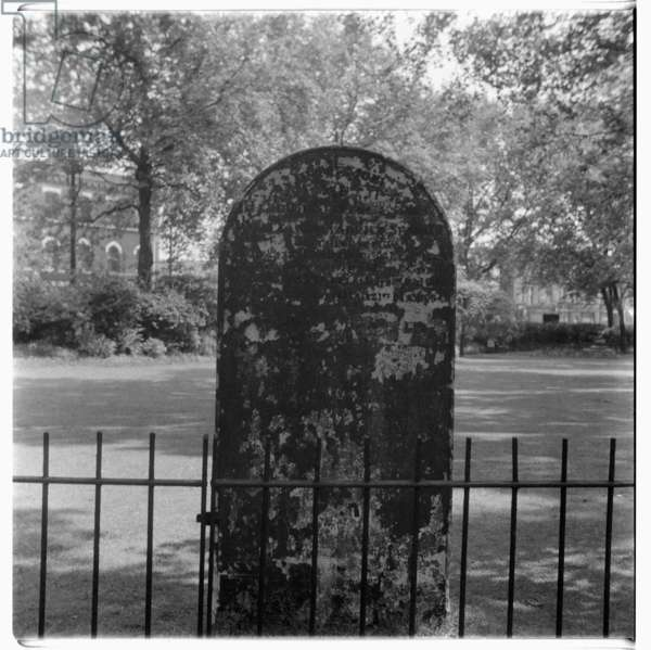 Tombstone in St. Anne's Churchyard, Limehouse, mid 1950's (b/w photo
