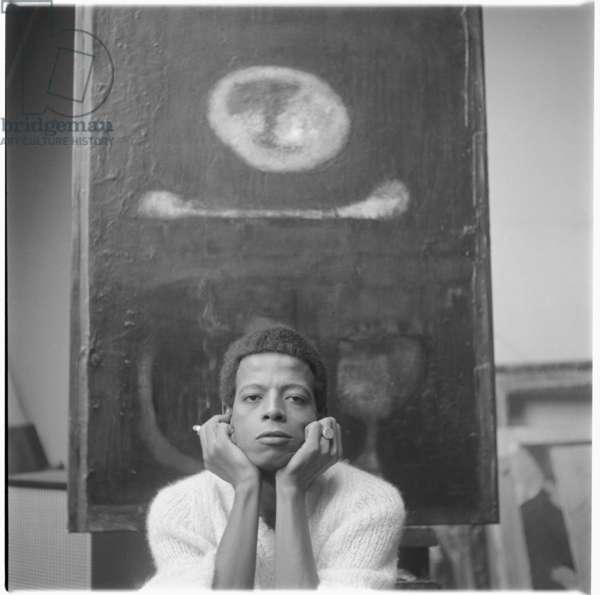 Hussein Shariffe, portrait of Sudan born artist and filmmaker, also photographed by Ida Kar, Soho, London, UK, 1966 (b/w photo)