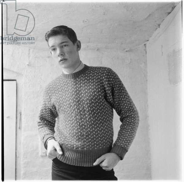 Sebastian Barker, portrait of son of poet George Barker and Elizabeth Smart, mid 1950's (b/w photo)