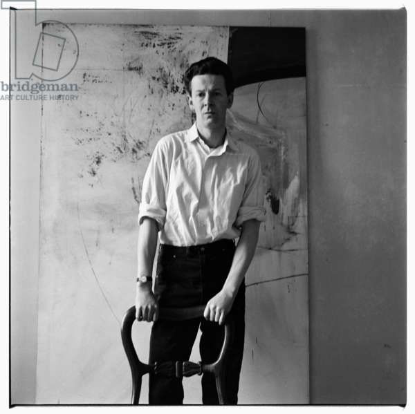 Michael Andrews, portrait of Michael Andrews artist in his studio, London, UK, late 1950's (b/w photo)