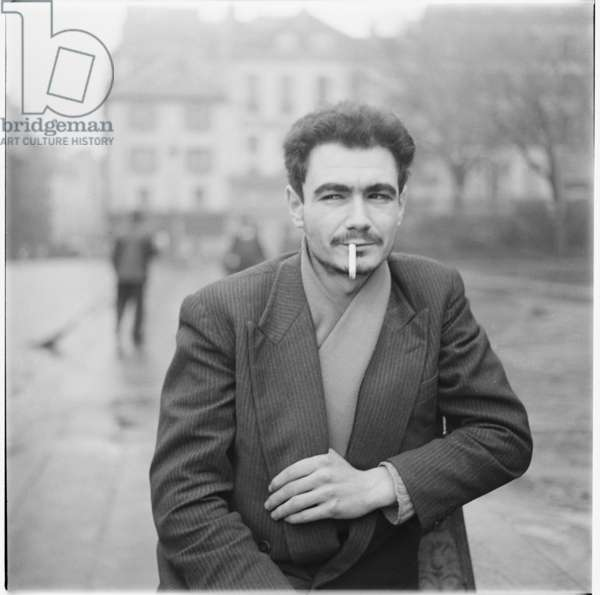 Gabriel Pomerand, portrait of French poet, artist and a co-founder of lettrism, Paris, France, mid 1950's (b/w photo)