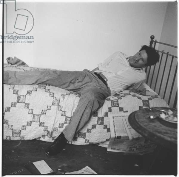 Lucian Freud on Bed, c.1964 (b/w photo)
