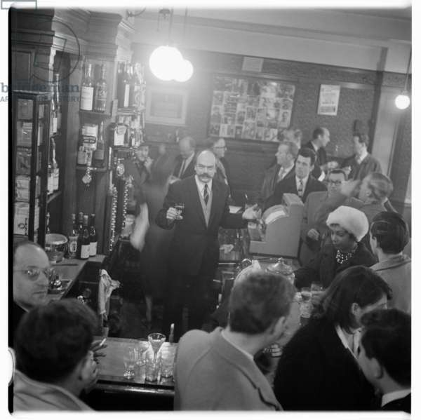 Gaston Berlemont, portrait of proprietor of The French House pub, Soho, London, UK, 1950's, mid 1950's (b/w photo)