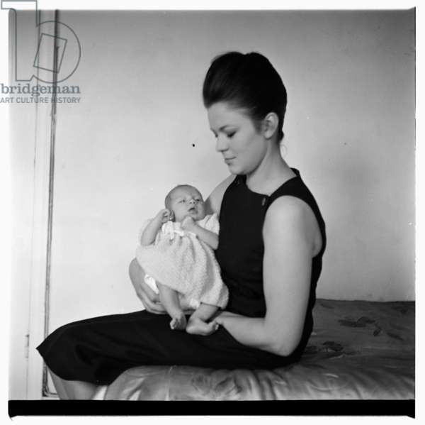 Portrait of unknown woman and baby, London, early 1960's (b/w photo)
