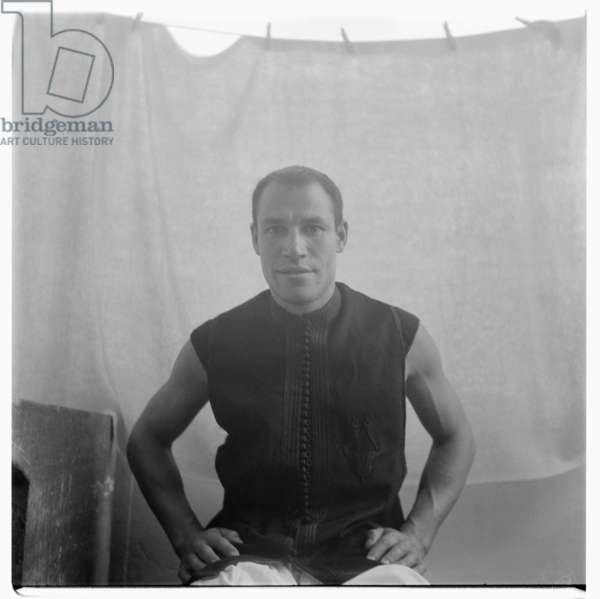Portrait of artist possibly called Yacoubut, unknown location possibly Tangiers, late early 1950's
