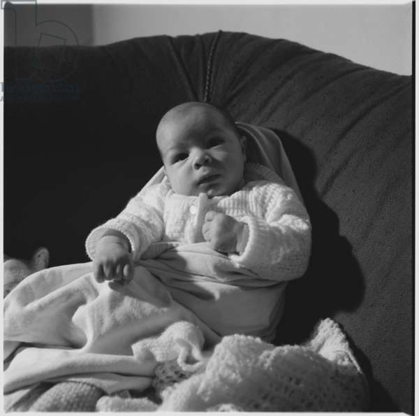 Geoff and Gwen Dove's newborn baby, c.1955 (b/w photo)