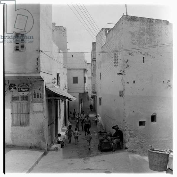 On the streets in Tangier, early 1960's (b/w photo)