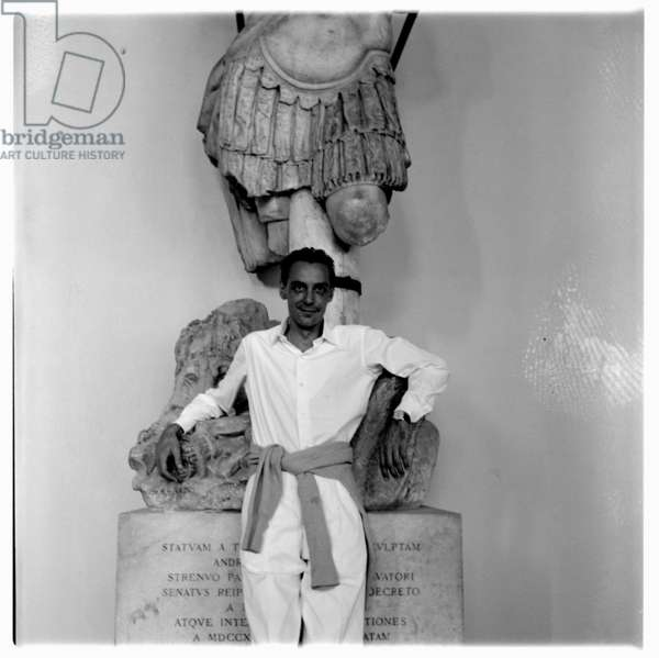 Mario Dabcevich in Italian museum, c.1955 (b/w photo)