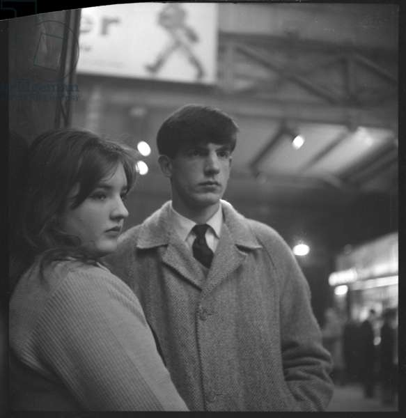 Rose & Christopher Barker, portrait of daughter and son of poet Frank Barker and writer Elizabeth Smart, mid 1950's (b/w photo)