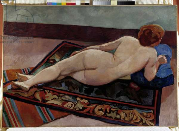 Naked woman from back on a carpet (oil on canvas)