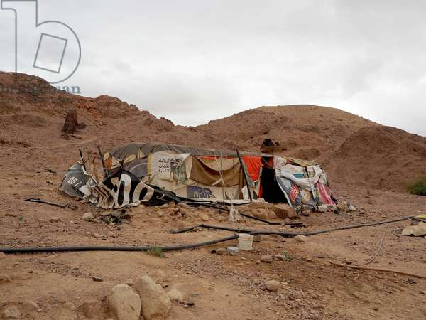 Jordan. Landscape in Wadi Ghuweir. Bedouin Camp