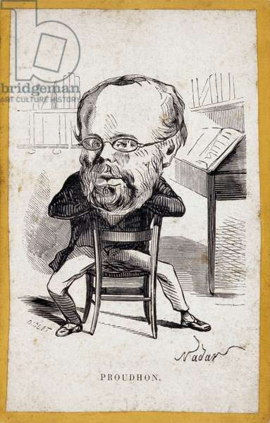 Portraits-charge (portraits charge) by Pierre-Joseph Proudhon (Pierre Joseph Proudhon, 1809-1865), French journalist and anarchist sociologist. Cartoon by Gaspard Felix Tournachon dit Felix Nadar (1820-1910). Engraving by Diolot after the drawing by Felix Nadar.