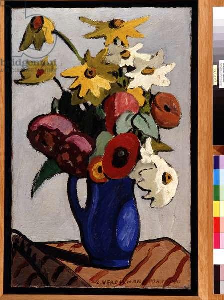 Bouquet of flowers in blue vase Painting by Louis Mathieu Verdilhan (1875-1928) Dim. 71,5x45,5 cm Mandatory mention: Collection fondation regards de Provence, Marseille