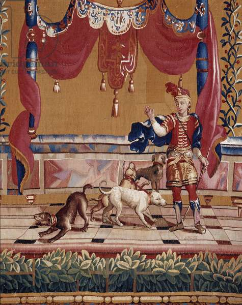 Hunter, hunter detail. Cartons of the curtain created by Jean-Baptiste Monnoyer (Jean-Baptiste Monnoyer, 1636-1699), inspired by Jean Berain pere (1640-1711). Tapestry in low-lice made by the Atelier de Beauvais. Wool and silk. Dim: 260x130cm. Musee des tapestries, Aix en Provence