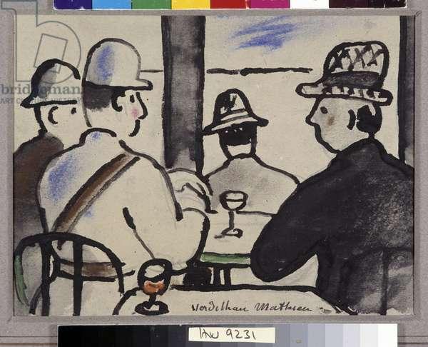 Four characters at the Aquarelle bar by Louis Mathieur Verdilhan (1875-1928) Mandatory mention: Collection fondation regards de Provence, Marseille