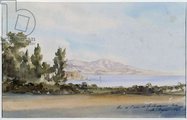 View of the countryside at dawn. Watercolour by Berthe Rozan (19th century) 1862. Mandatory mention: Collection fondation regards de Provence, Marseille