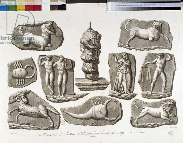 Monuments of the Mithras and the ancient Zodiac of Arles. 19th century lithography, Musee Arbaud, Aix en Provence.