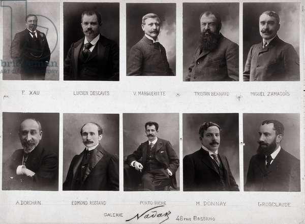 Ten portraits: Fernand Xau (1852-1899), journalist, Lucien Descaves (1861-1949), Victor Margueritte (1866-1942), Tristan Bernard (Paul Bernard, 1866-1947), Miguel Zamacois (1866-1955), Auguste Dorchain (1857-1930), Edmond Rostand (1868-1918), Georges de Porto-Riche (Porto Riche, 1849-1930), Maurice Donnay (1859-1945), Etienne Grosclaude (1858-1932). Plate made around 1924. Photographs by Paul Nadar (1856-1939), 1924. Dim: 57x42cm.