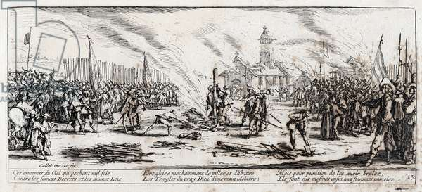 """Series """"The Miseries and the Miseries of War"""" (also called """"The Great Miseries of War"""") evoking the Thirty Year War: The Bucher. Engraving on paper by Jacques Callot (1592-1635), 1633. Dim: 8,2x18,7cm. Private Collection"""